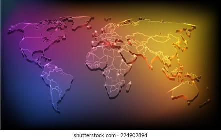 vector illustration of world map with neon effect