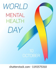 Vector illustration for World Mental Health Day. A colored ribbon and an inscription on a white-blue gradient background