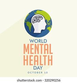Vector illustration World Mental Health Day.
