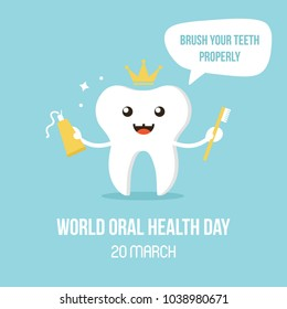 Vector illustration for world oral care day with smiling tooth character, giving advice brush teeth properly.