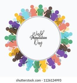 vector illustration of world population day frame.