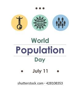 vector illustration / world population day in july