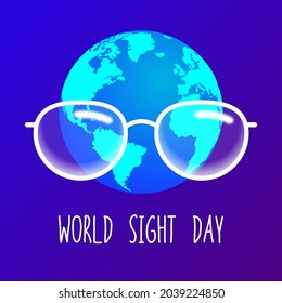 vector illustration for world sight day. glasses on the background of the planet earth and the inscription. concept on the topic vision care. stock vector illustration. EPS 10.