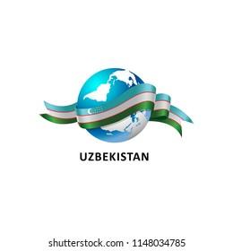 Vector Illustration of a world – world with the uzbekistan flag