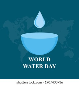 Vector illustration of world water day, March 22nd.