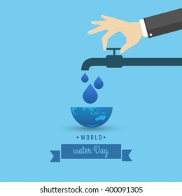 Vector Illustration of World Water Day.