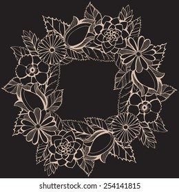 Vector illustration with a wreath of flowers. Retro style