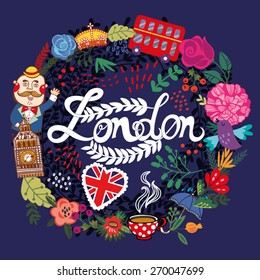 Vector illustration of wreath made from London's symbol in bright colors.