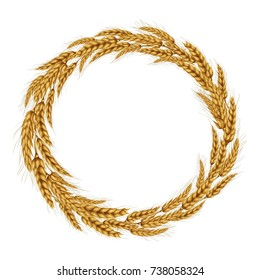 Vector illustration of a wreath made of wheat spikelets isolated on a white background with space for text.. Template, seal, design element.