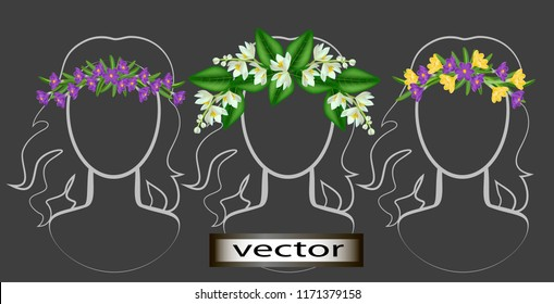 Vector illustration of a wreath on the head of wild flowers bright, spring flowers of orange and crocuses as decoration in folk ECO-style
