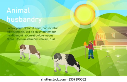 Vector Illustration is Written Animal Husbandry. Morning on Farm. Agriculture and Farm with Cows. Male Farmer Working in Field. Modern Animal Husbandry with use Process Automation.