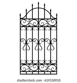 Vector illustration wrought iron modular railing and fence. Vintage gate with swirls. Black forged lattice fence