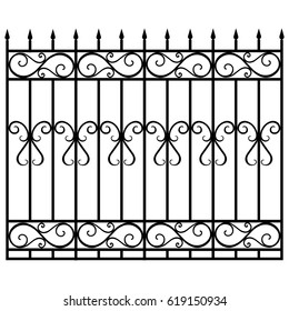 Vector illustration wrought iron modular railing and fence. Vintage gate with swirls. Black forged fence