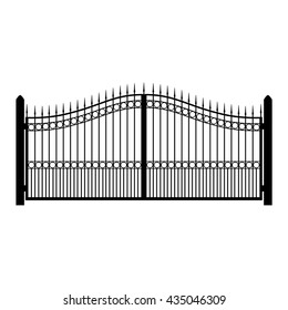 Vector illustration wrought-iron fence. Old metal fence or gate. Gate silhouette. Modern forged gates