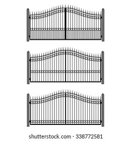 Vector illustration wrought-iron fence. Set of old metal fence and gates. Gates silhouettes