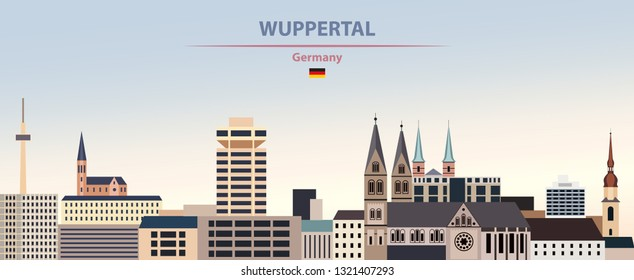 Vector illustration of Wuppertal city skyline on colorful gradient beautiful day sky background with flag of Germany