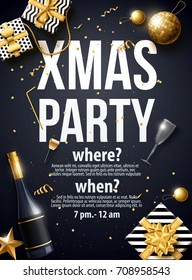 vector illustration of xmas party 2018  gold and black collors place for text christmas balls happy new year theme 2019