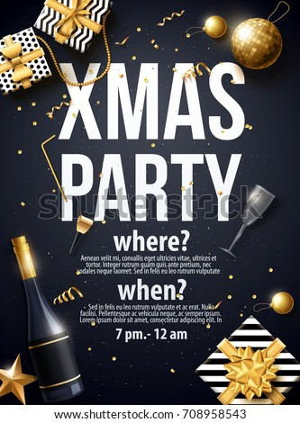 vector illustration of xmas party 2018 gold and black collors place for text christmas balls happy