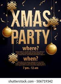 vector illustration of xmas party 2019 gold and black collors place for text christmas balls happy