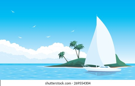 Vector illustration yacht around the green island