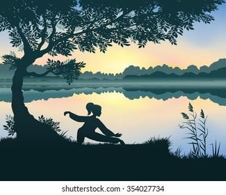 Vector illustration of yang woman performs Snake Creeps Down Form of Tai Chi near the lake