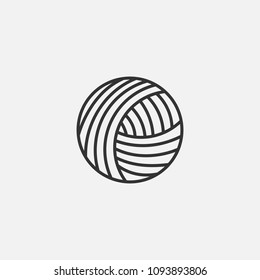Vector illustration Yarn woolen, cashmere or acrylic ball for knitting hobby. Vector craft wool skein for hand made shop, exhibition, master class, training and other knit design project.