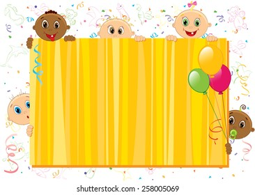 Vector illustration of yellow babies frame. Objects are layered.