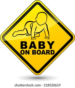 Vector illustration of yellow baby on board sign