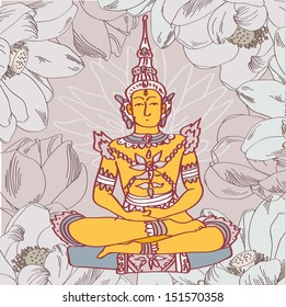 Vector illustration of yellow buddha with lotus ion floral background