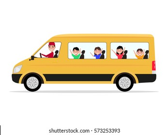 Vector illustration yellow cartoon minivan with a driver and children passengers. Isolated white background. School minibus with students. Kids go on holiday, vacation, walk. Side view, flat style.