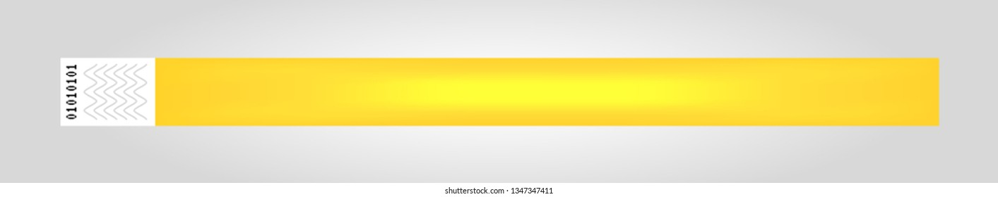 Vector illustration of yellow cheap empty bracelet or wristband. Sticky hand entrance event paper bracelet isolated. Template or mock up suitable for various uses of identification.