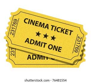 Vector illustration of yellow cinema ticket