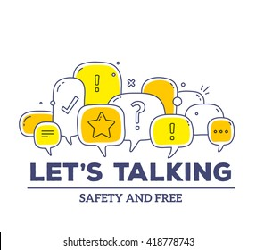 Vector illustration of yellow color dialog speech bubbles with icons and text let's talking on white background. Safety communication technology concept. Thin line art flat design of mobile technology