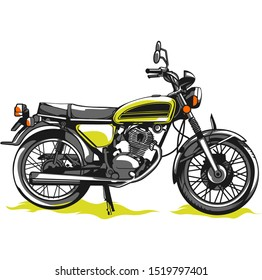 Vector illustration of yellow color motorcycle isolated on white background.