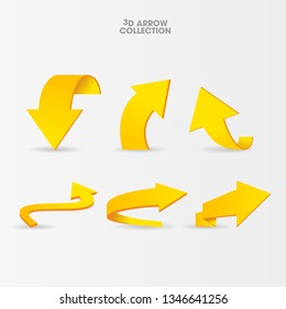 Vector illustration of yellow curved arrows in different variation isolated on white