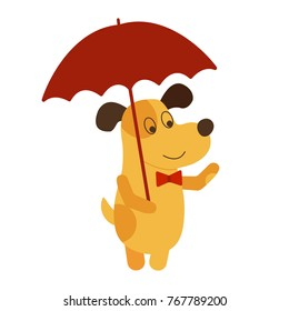 Vector illustration of  Yellow dog with umbrella. Vector symbol of new year 2018 in Chinese calendar EPS 10