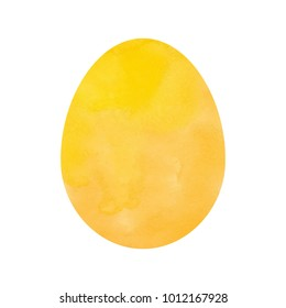 Vector illustration: yellow Easter egg template with watercolor texture for Easter holidays design isolated on white background.