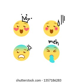 """Vector illustration, yellow emoji set with hand drawn black marker doodle details as tears and sweat, heart, crown, """"no, dude"""", """"nope"""", """"exciting"""", """"meh"""" scribing lettering. High quality, isolated."""