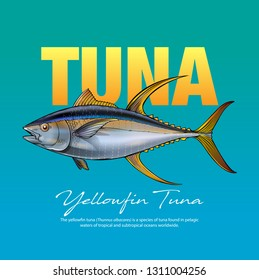 Vector illustration yellow fin tuna