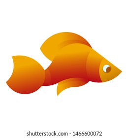 Vector Illustration of yellow fish on a white background. It can be used for the logo, icon, decoration for brochure, print on clothes, cover, card. Seafood business concept.