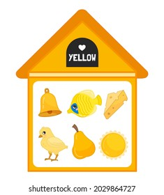 Vector illustration of a yellow house . Learning colors for children. Image of yellow objects - bell, fish, cheese, chicken, pear, sun.