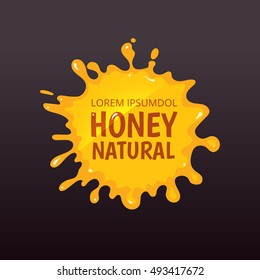 Vector illustration of Yellow juice or honey blot isolate on dark background. Emblem with place for your text