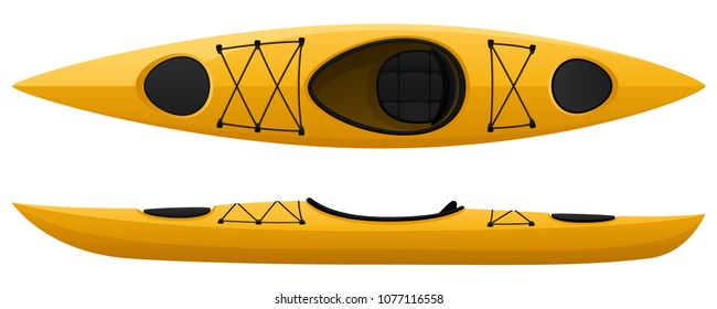 Vector illustration of a yellow kayak, with top and side views.