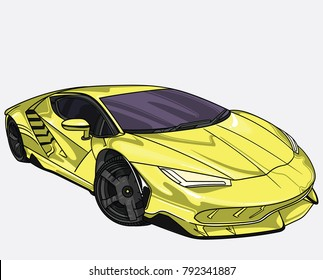 vector illustration of yellow Lamborghini    car  separate on white background. Editable vector file.
