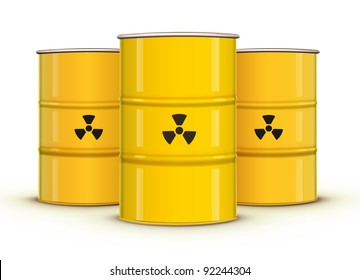 Vector illustration of yellow metal barrels with nuclear waste