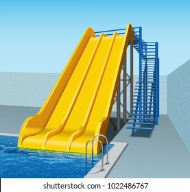 Vector illustration of yellow plastic water slides in aqua park. Isolated, perspective view