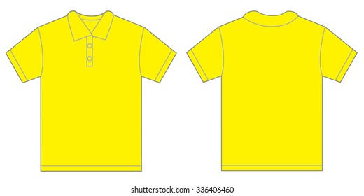 Vector illustration of yellow polo shirt, isolated front and back design template for men