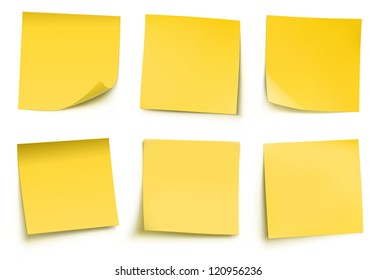 Vector illustration of yellow post it notes isolated on white background.