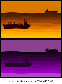 Vector Illustration of a yellow and purple ship scene