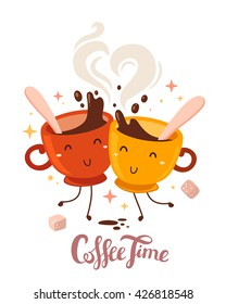 Vector illustration of yellow and red smile friend girl characters dancing cups of coffee with steam and sugar on white background. Coffee time concept. Hand drawn colorful art design of cup of coffee